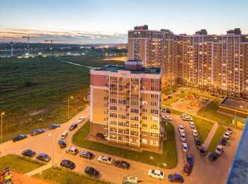 Панорама с верхнего этажа жилого комплекса Видный берег